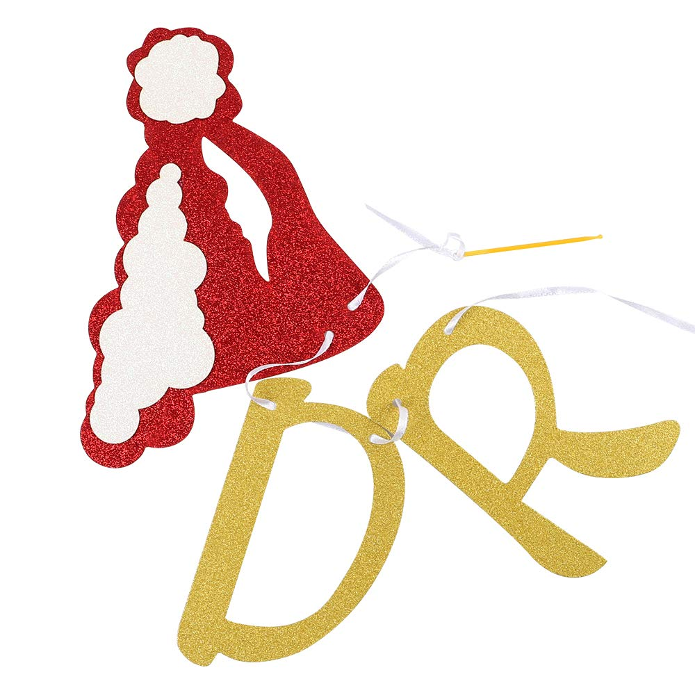 RUBFAC Grinches Christmas Decorations Christmas Party Decorations Drink Up Grinches Banner Gold Jingle Bells Gold Glittery Christmas Banner Christmas Hat Banner for Christmas Party Supplies