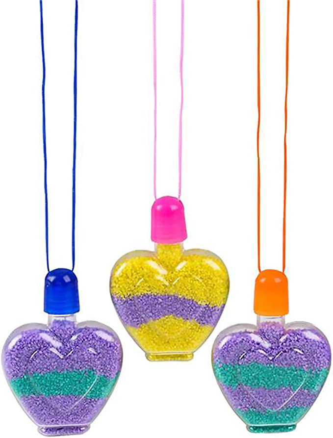 Sensory Sand Art for Kids, Sand Art Star Necklace The Dreidel Company Make Your Own Sand Art Bottle Necklace 12-Pack