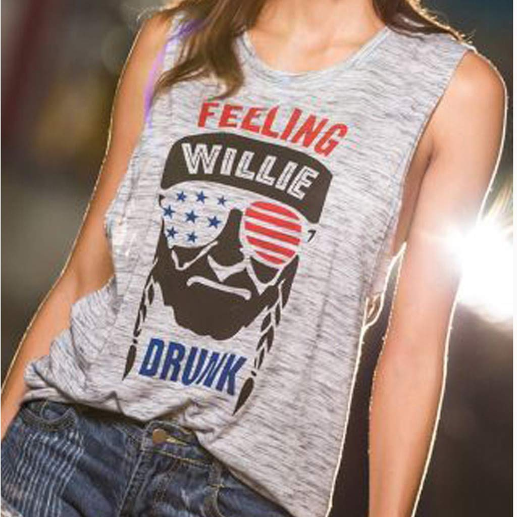 4th of July Shirts for Women Ladies Cool Cartoon Head Print American Flag Sleeveless Tank T-Shirt Tops Blouse