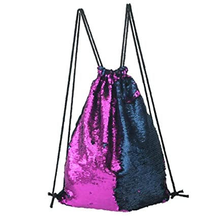 Walkroa Drawstring Bag Strap Panelled Double Color Sequins Women Men Shoulder Bag A