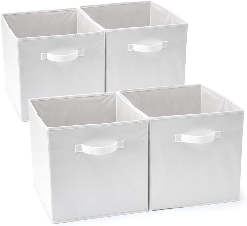 EZOWare Set de 4 Caja de Almacenaje, Cubos Organizador de Tela Plegable, Cajas de Almacenamiento para Ropa, Juguetes, Roperos, Armarios, Estanterías - 33 x 38 x 33 cm - Blanco