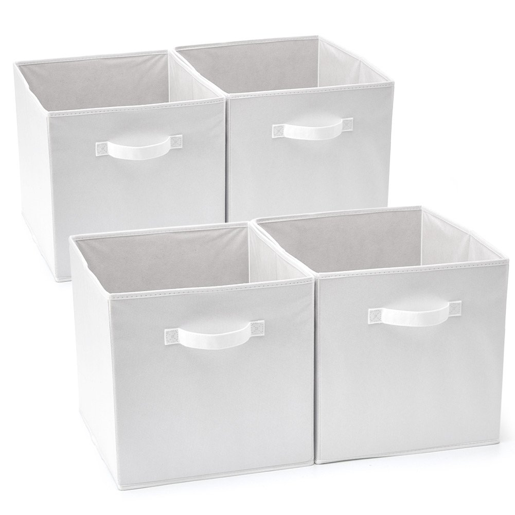 EZOWare Set of 4 Foldable Fabric Basket Bin, Collapsible Storage Cube Boxes for Nursery Toys (13 x 15 x 13 inches) (White)