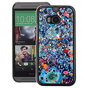 A-type Arte & diseño plástico duro Fundas Cover Cubre Hard Case Cover para HTC One M8 (Painting Abstract Blue Oil Color Paint)