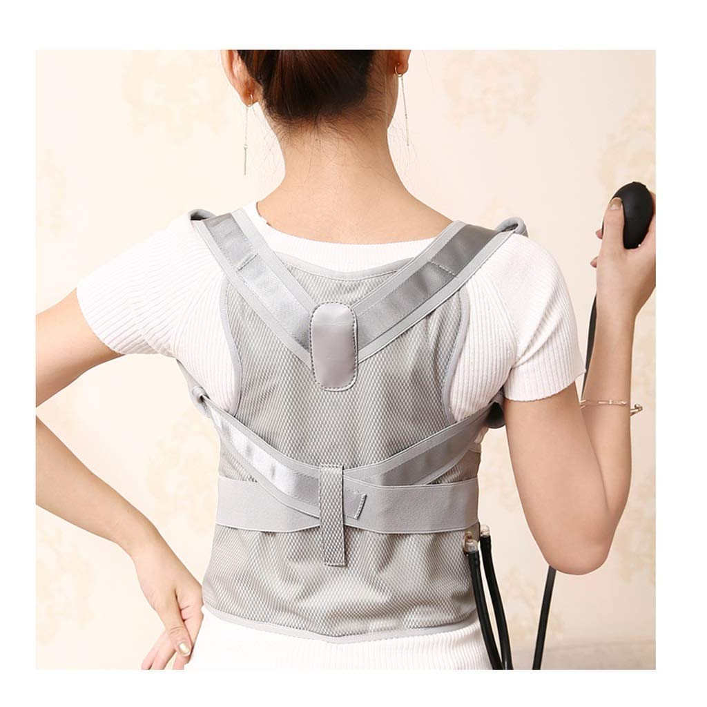 JCM Back Correction Dress Correction Lady Adult Sitting Posture Correction high and Low Shoulder Weakness ZJ (Color : Gray, Size : S)