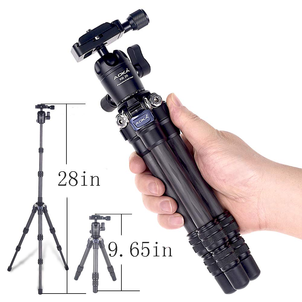 AOKA Compact Carbon Fiber Tripod 0.97 lb/1.1 lb Lightweight 5.6 lb/6.6 lb Loading Capacity max Height 28 in/53.6 in Carbon Fiber Travelling Mini Tripod by AOKA
