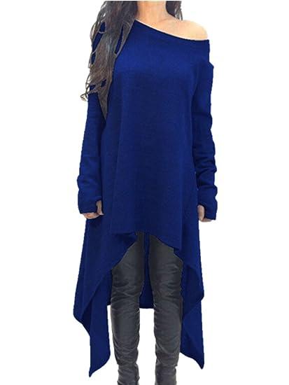 94849cd78443 Xuan2Xuan3 Womens Long Sleeve Oversized Top Tunic Shirt Loose Casual Dress ,Blue,Medium