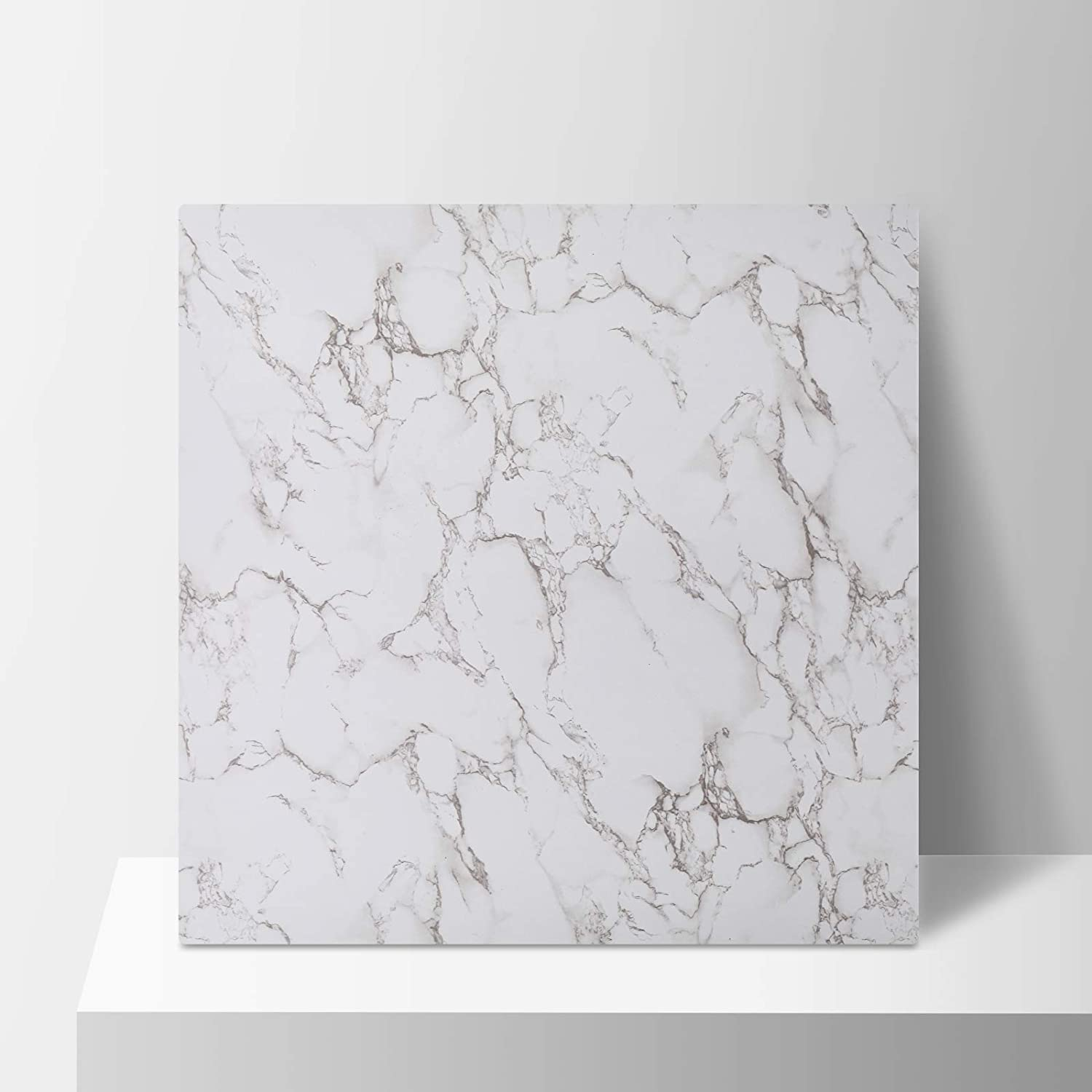 BEIYANG 24x24 Photo Backdrop Unfold 1PCS Photography Backdrop Boards with 2 Bracket Kit Soild Board Waterproof Background for Food Photography White Marble(Only One Included