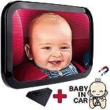 ベビーミラー 車用 赤ちゃん ミラー 車 曲面鏡 チャイルドシート ミラー Vmini - 赤ちゃんが安全に座っていることを確認できるベビーミラー 車用 | 後ろ向きチャイルドシート【無料清潔布と無料マグネットステッカー付き】