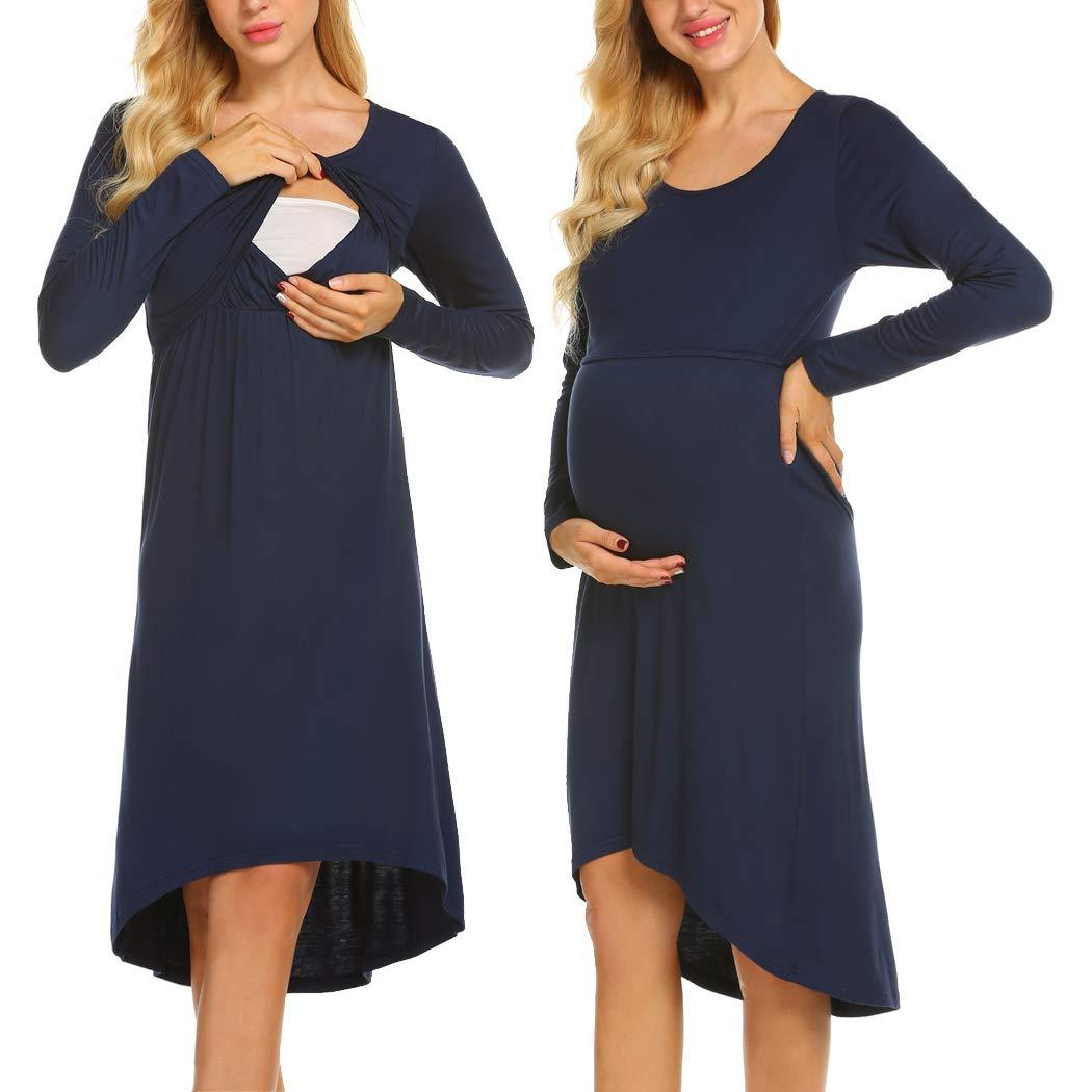 Ekouaer Women's Long Sleeve Maternity Nursing Dress for Breastfeeding Long Sleeve Sleepwear (Navy Blue L) by Ekouaer