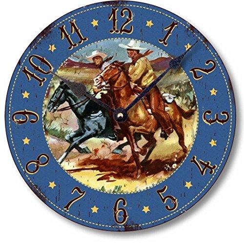 Item C9000 Retro Vintage Style 10.5 Inch Western Cowboy Horses Clock ()