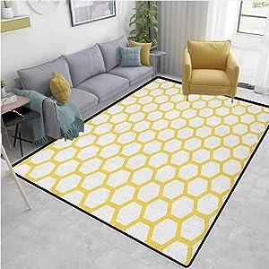 Hallway Rug Yellow and White Hexagonal Pattern Honeycomb Beehive Simplistic Geometrical Monochrome Home Decor Yellow White