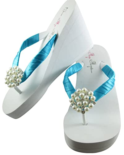 a89d074c5026c Amazon.com: 1, 2 or 3.5 inch Wedge Flip Flops, Bride and Bridal ...
