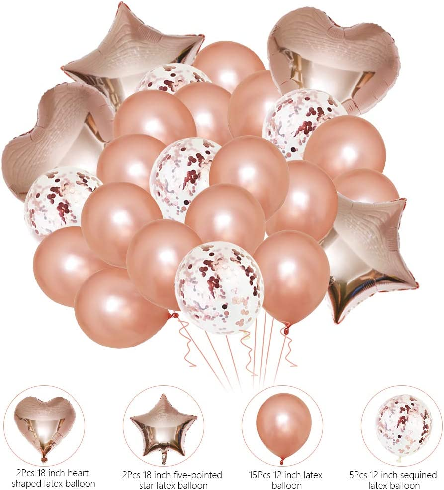 Hen Party Decorations,Rose Gold Confetti Latex Balloons and Star Heart Foil Balloons Hen Party Banner for Party Supplies Wedding Decoration 44 Pcs