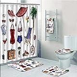 vanfan Designer Bath Polyester 5-Piece Bathroom Set, Nostalgic Female Objects Solar Hot Travel Adventure Print bathroom rugs shower curtain/rings and Both Towels(Large size)