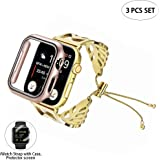 Kuty Compatible with Apple Watch Band 40mm, with Protective Case, Protector screen and Adjustment tool, for Apple Watch Series 5/4(40MM, Golden Leaf)