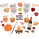 Happy Fall Y'all Photo Booth Props-Thanksgiving Party Favor Funny Pumpkin Kisses Harvest Wishes Props - 26pcs