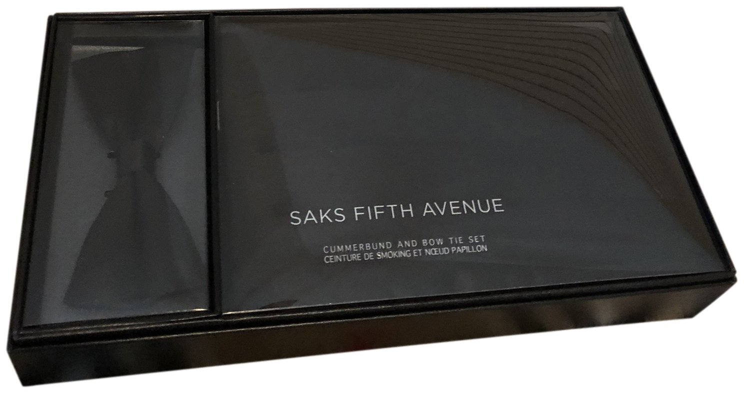 Saks Fifth Avenue 100% Silk Formal Bow Tie & Cummerbund Gift Set Black
