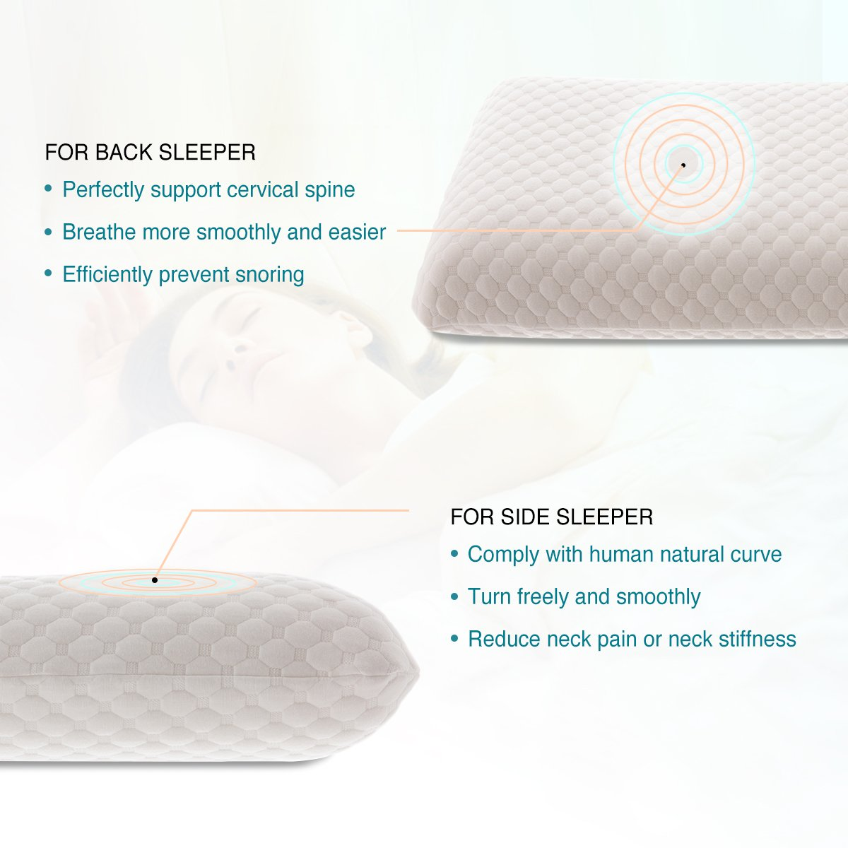 amazon com memory foam pillow bed pillow for sleeping and neck