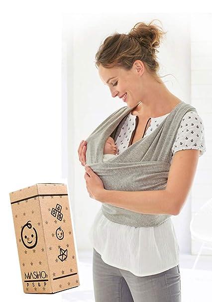 Fular elástico Baby wrap portabebés rebozo para múltiples amarrados y posiciones Gris 100% algodón respirable con spandex para bebés de 0 a 15 k