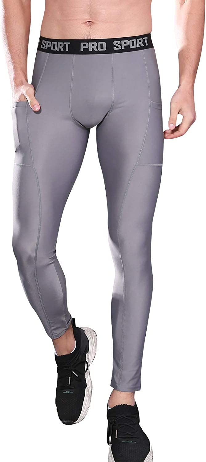 FANDIMU 1 or 2 Pack Mens Compression Pants,Running Tights Baselayer Leggings with Pocket