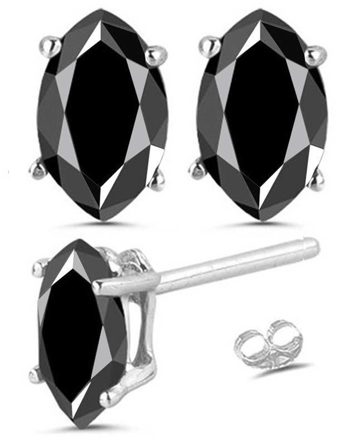 RINGJEWEL 7.00 ct Black Round Real Moissanite Solitaire Stud Earrings