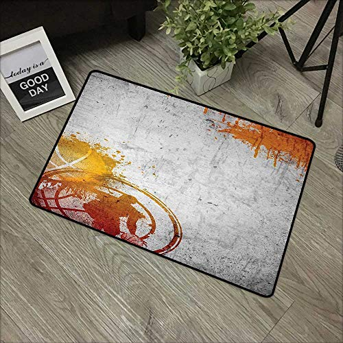 Brush Loop Mat Charcoal - pad W16 x L24 INCH Basketball,Basketball Streetball and Paint Stains Image on Concrete Wall Rustic Print,Charcoal Orange Easy to Clean, no Deformation, no Fading Non-Slip Door Mat Carpet