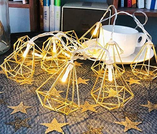 Solarleuchten im Freien, Metall-Lichterketten, 3M 20 LEDs Diamond Fairy-Lichterketten Geometrische Roségold-Metall-Lichterketten Batterie Innenhof, Partys, Patio