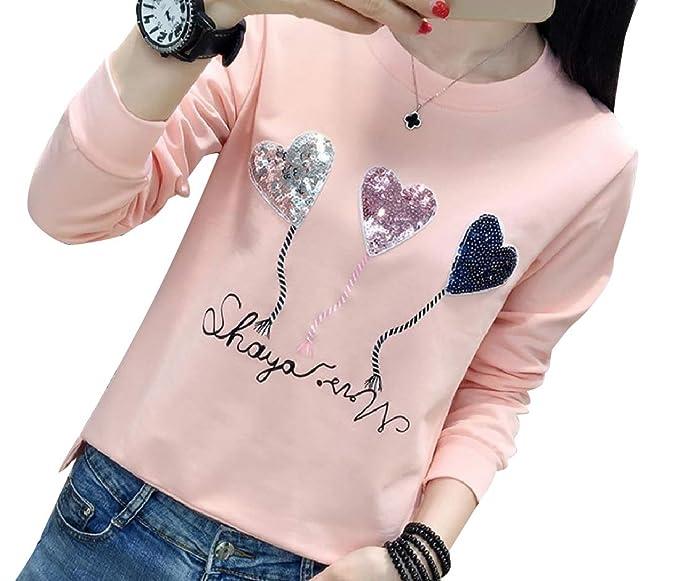 b5910620 Abetteric Women Slim Casual Satin Sequin Round Neck Dressy T-Shirt Pink S