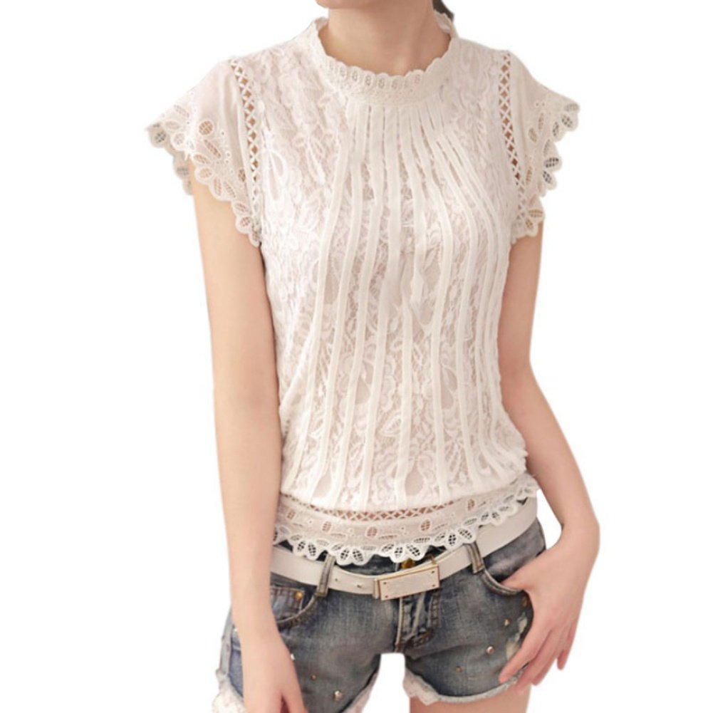 Weixinbuy Womens T-Shirt Tank Tops Lace Floral Sleeveless Blouse Camisole Vest (US 4-6/Asian L Bust 36.7'', Style # White 2)