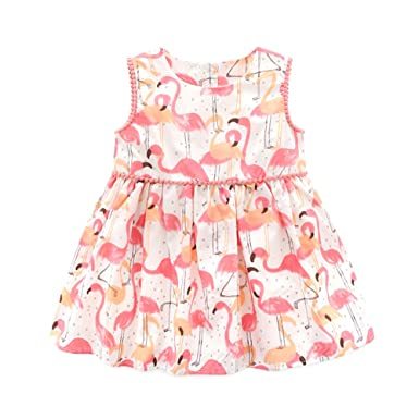 Top and Top Infant Baby Girls Pink Flamingo Printed Sleeveless Vest Princess  Dresses Casual Clothes Outfit adb017de7ca7