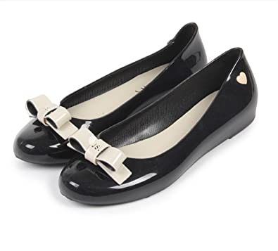 f759f11e25c8 xiaoyang Woman Mary Janes Jelly Shoes Casual Sandals Flat Candy Color  Plastic Jelly Shoes Black-