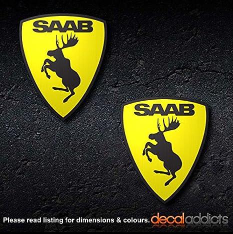 Supersticki 2 X Saab Elch 15 Cm Einfarbig Aufkleber Autoaufkleber Sticker Tuning Vinyl Uv Waschanlagenfest Tuningsticker Auto