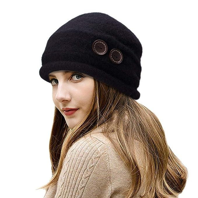 Women s Hat Winter Keep Warm Bowler Hats Fashion Button Warm Earmuffs Hat  (Black) at Amazon Women s Clothing store  257266b8ccfe