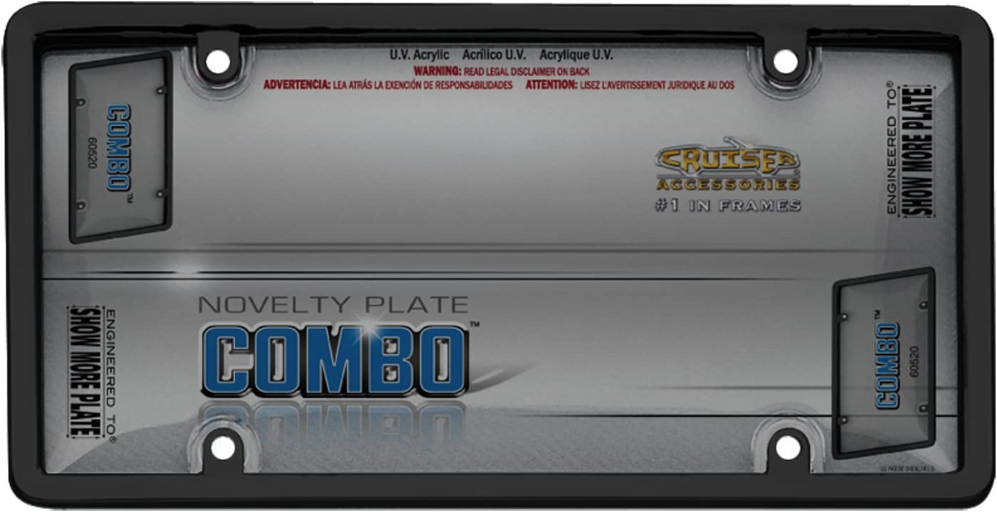 Cruiser Accessories Black//Clear 60520 Combo License Plate Shield//Cover Smoke