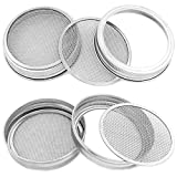 TIMGOU 4 Pack Sprouting lids for Wide Mouth Mason Jar, Stainless Steel Detachable 2 in 1 Superb Ventilation Strainer Lids for Making Organic Sprout Seeds