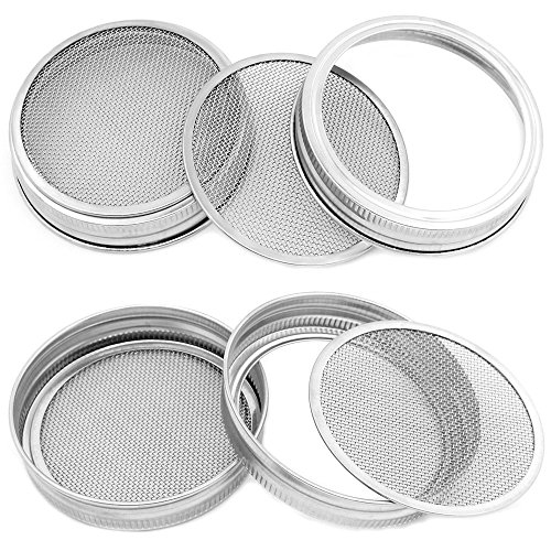 TIMGOU 4 Pack Sprouting lids for Wide Mouth Mason Jar, Stainless Steel Detachable 2 in 1 Superb Ventilation Strainer Lids for Making Organic Sprout Seeds by TIMGOU