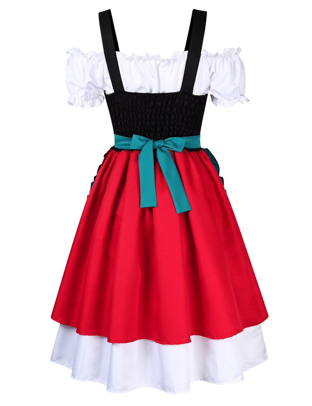 GloryStar Women's 3 Pcs German Dirndl Serving Wench Bavarian Oktoberfest Adult Costumes (S, Red/Green) by GloryStar (Image #5)