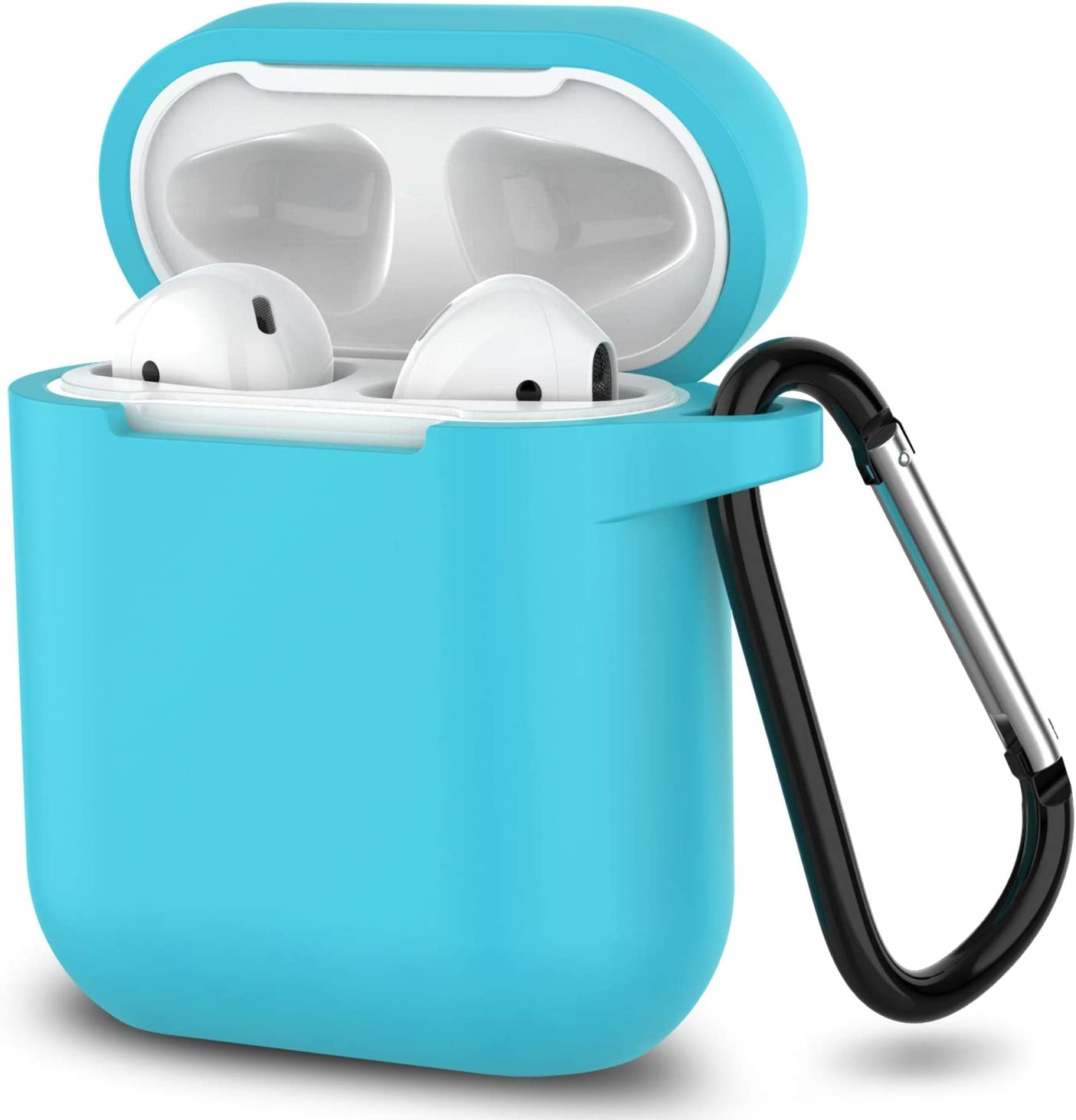 AirPods Case,SATLITOG Protective Silicone Cover Compatible with Apple AirPods 2 and 1(Not for Wireless Charging Case)(Sky Blue)