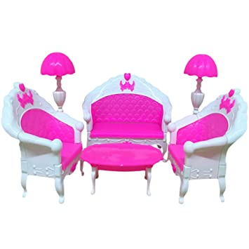 Zantec Puppenhaus Möbel Wohnzimmer Set Tisch und Stuhl für Barbie ...