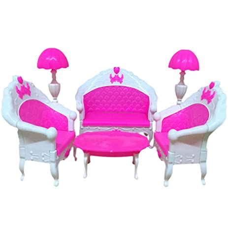 Amazon.com: Lanlan 6PCS Pink Mini Living Room Sofa Furniture Sets ...