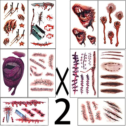 halloween costumes  zombie tattoos,Makeup For Halloween Party Prop decorations, Body Scar Stickers for Cos Play by Dream Loom (20 (Awesome Halloween Face Makeup)