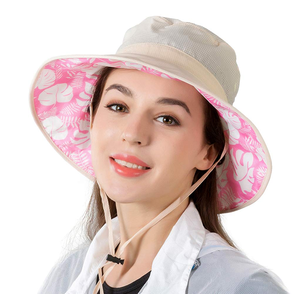 Women's rain hat Outdoor UV Protection Foldable Mesh Wide Brim Beach Fishing Hat(Off-White)
