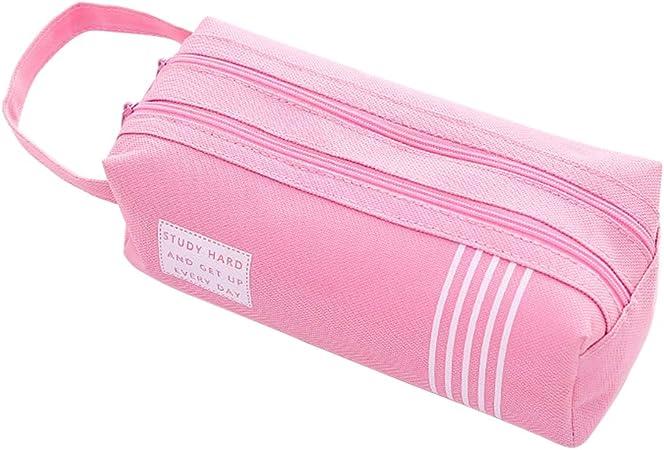 Estuche para lápices de doble capa de tela Oxford, bolsa para cosméticos y bolígrafos, organizador de escritorio, color gris small rosa: Amazon.es: Hogar