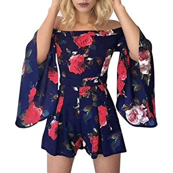 7569cc8a075 Fheaven Women s Casual Beach Floral Short Flare Sleeves Jumpsuit Clubwear  Bodycon Shorts Playsuit Romper (S