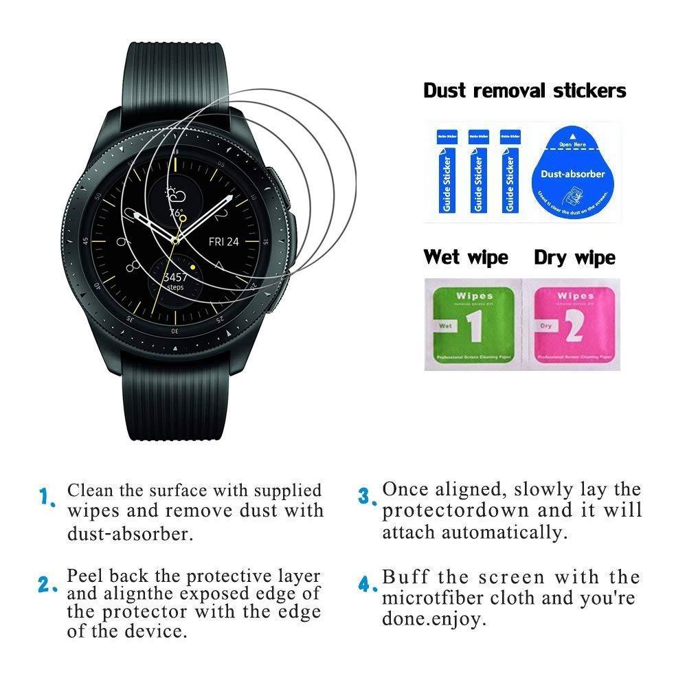 PaceBid [2 Pack] Protector de Pantalla Samsung Galaxy Watch 42 mm,[Dureza 9H] [Anti-Arañazos] [Anti-Huellas] Cristal Vidrio Templado Premium para Samsung ...