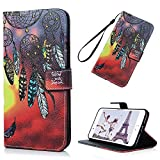 iPhone 8 Plus Case, iPhone 7 Plus Case Wallet, KASOS Colorful Painting Dream Catcher Red PU Leather Wallet Case TPU Inner Magnetic Front Closure Kickstand Card Holders Hand Strap Cover - Dream Catcher