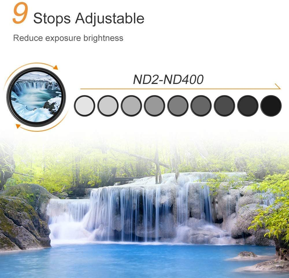K/&F Concept Slim 77mm ND2 to ND400 ND Fader Variable Neutral Density Filter