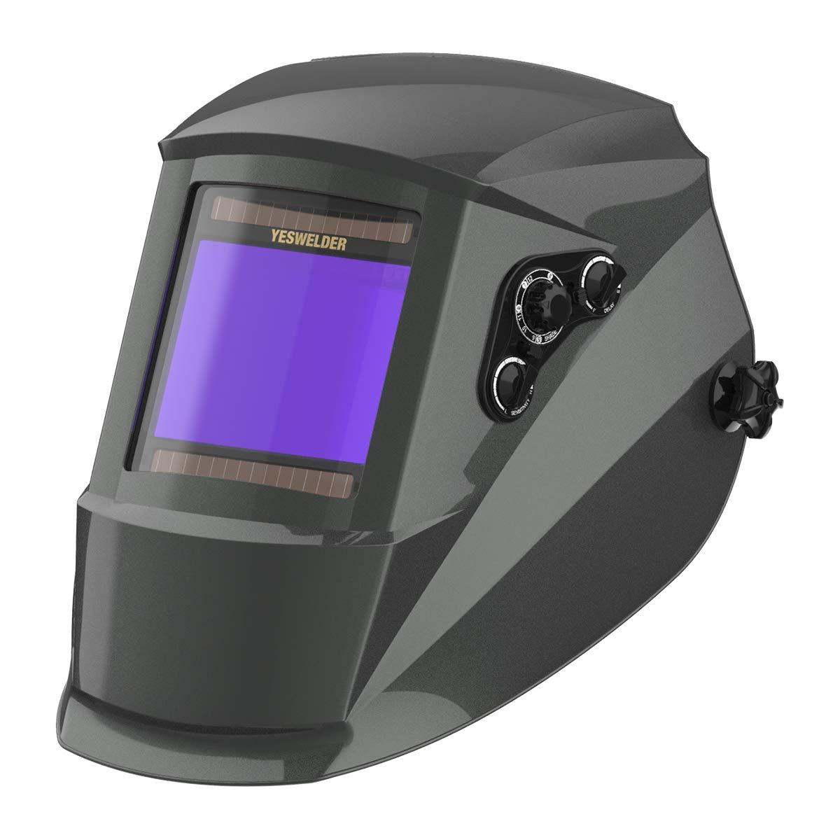 YESWELDER True Color Large Viewing Screen Solar Power Auto Darkening Welding Helmet, 4 Arc Sensor Wide Shade 4-5/9-13 for TIG MIG ARC Weld Grinding Welder Mask Welding Hood