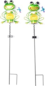Shop LC Delivering Joy Home Garden Decor Set of 2 Green Black Solar Frog Wind Spinner Stake Light Solar Powered Yard