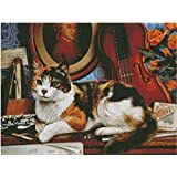 Cat on Desk cross stitch kits Egyptian cotton thread 300x225 stitch 65x50cm cat cross stitch kit 14ct